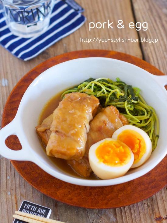フライパンで超簡単♡サッパリ♡『厚揚げポークとゆで卵のにんにくポン酢煮』