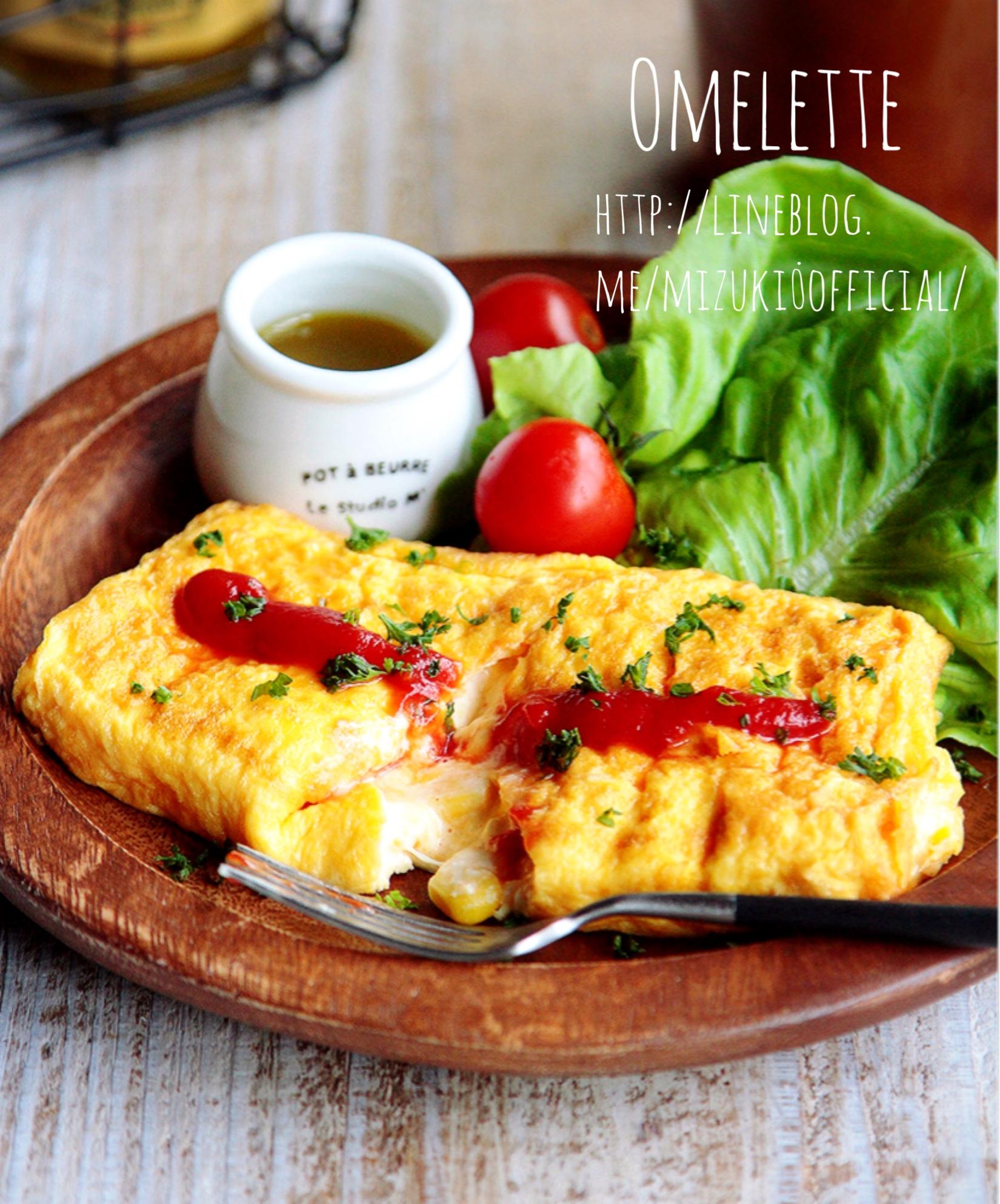 ♡卵焼き用フライパンdeマヨコーンチーズオムレツ♡【#簡単#四角#朝食】