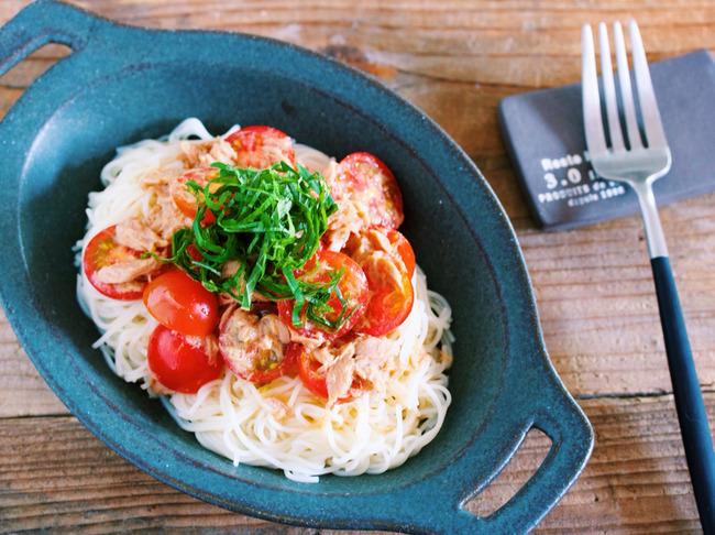 何度も食べたい!食欲がなくてもツルッと完食「トマトとツナの和風うまだしあえ麺」