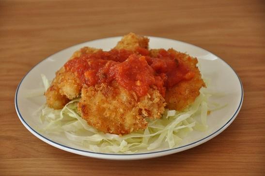 1人分102円調理時間15分ストックおかず♡チキンカツのトマトソースがけ