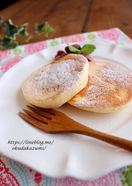 ホットケーキミックスで*シュワシュワ口どけパンケーキ
