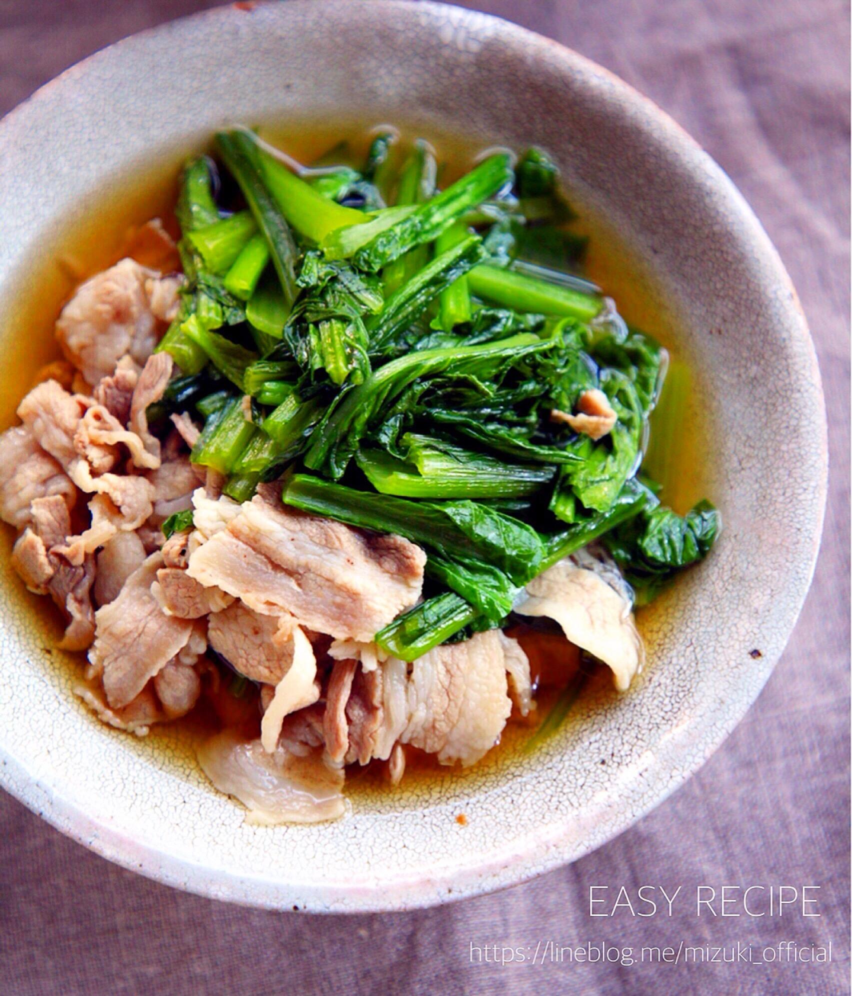 ♡簡単・時短・節約♡豚肉と小松菜のさっと煮♡【#煮物#和風煮#コスパ】