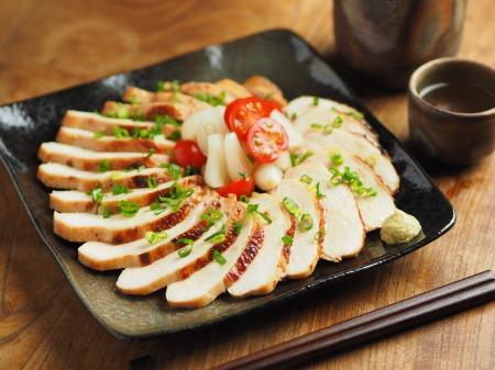 鶏むね肉の塩辛ぽん酢焼き