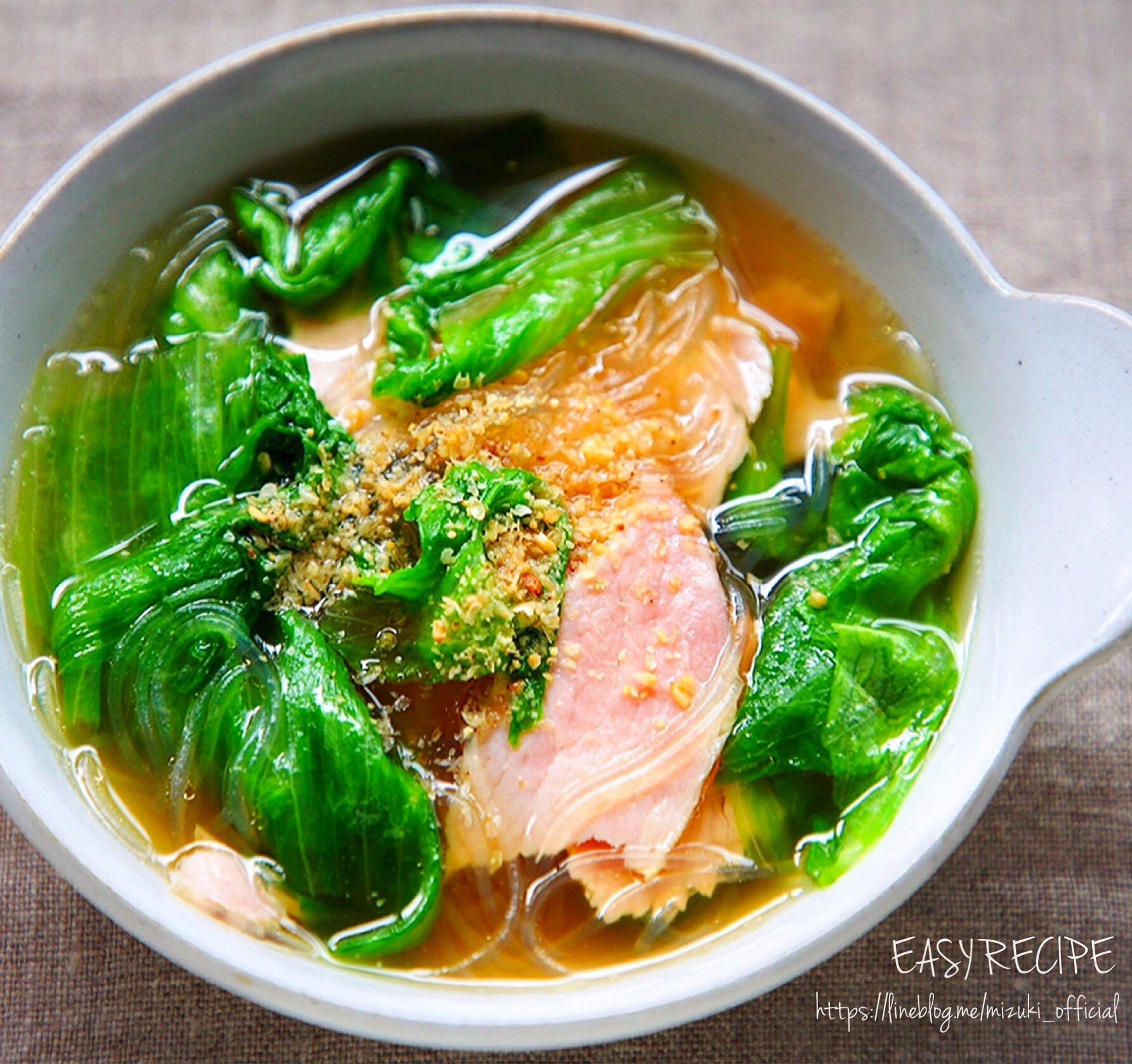 ♡包丁要らずde超簡単♡ハムとレタスの春雨スープ♡【#時短#節約#おかずスープ】