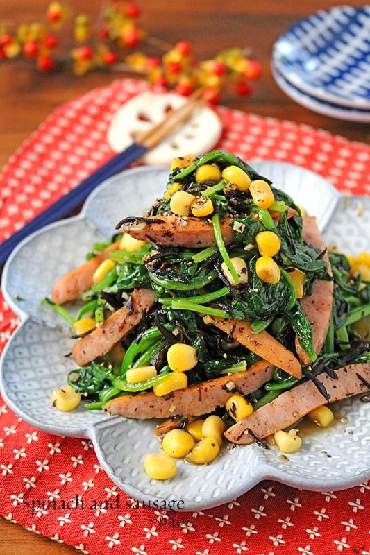 簡単お弁当おかず♪ほうれん草とひじきのガリバタソーセージ炒め