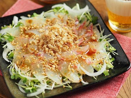 鯛と新玉ねぎの中華風海鮮サラダ