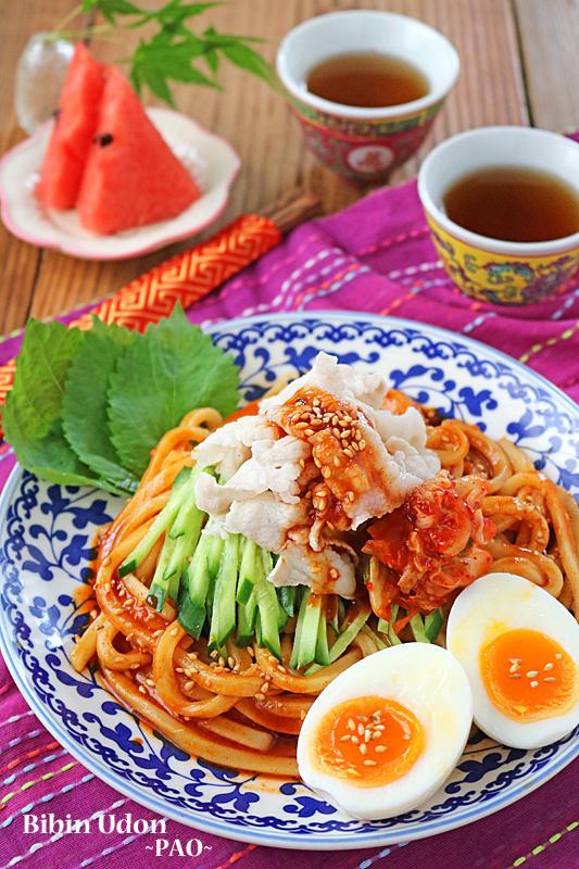 韓国ビビン麺風♪和えるだけで簡単!旨辛豚しゃぶ冷やしうどん