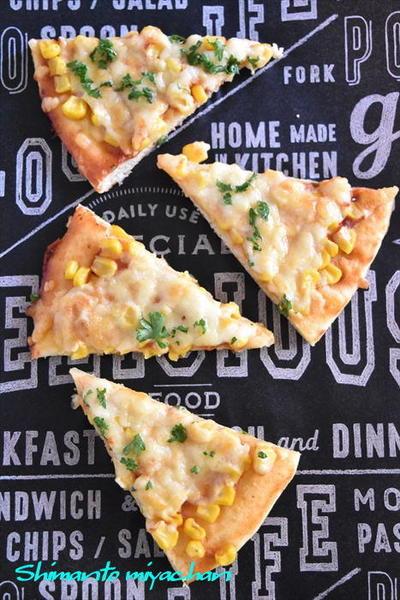 発酵不要!ホットケーキミックスで作る♪コーンたっぷり簡単ピザ