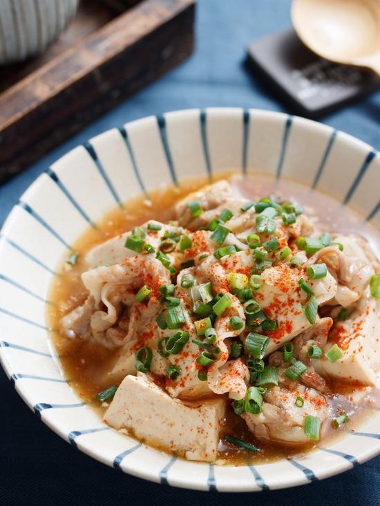 豚肉と豆腐のとろみあん【#簡単 #時短 #節約 #包丁不要 #水切り不要 #主菜】