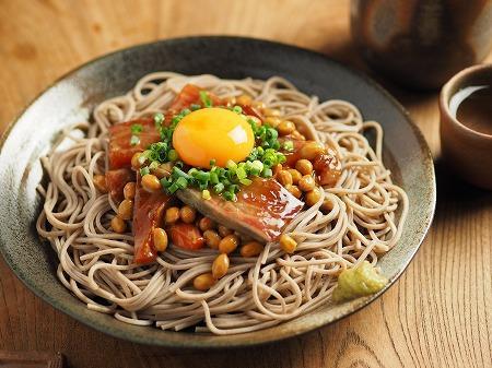 漬け刺身の納豆蕎麦