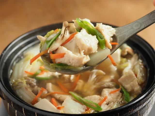 水晶鶏の白菜鍋