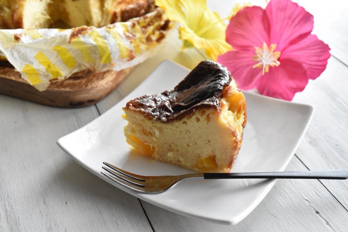 夏に食べたい!マンゴー缶でトロピカル「バスクチーズケーキ」