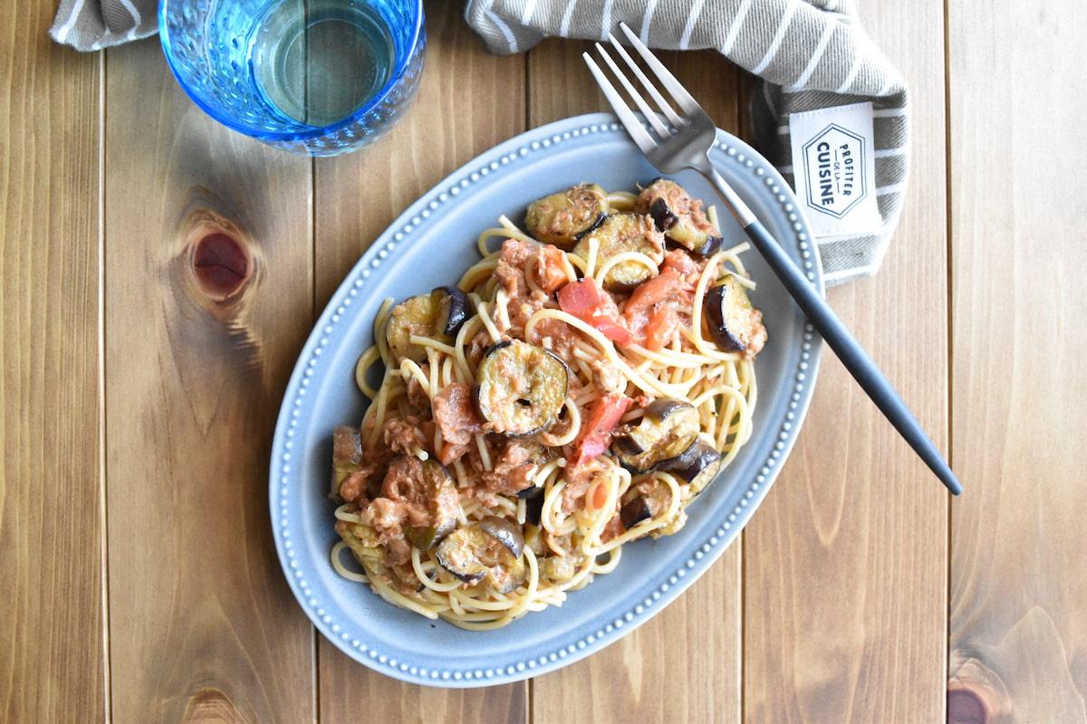 パスタに絡んだソースが最高!「なすとツナのトマトチーズパスタ」