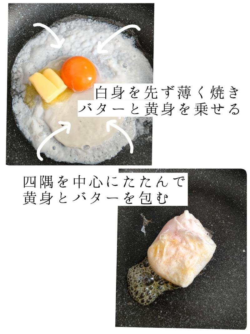 フライパンに薄く油をひき(分量外です)白身を薄く広げて焼く→黄身とバターを乗せ、四隅を中心にたたんで白身で黄身とバターを包む。
