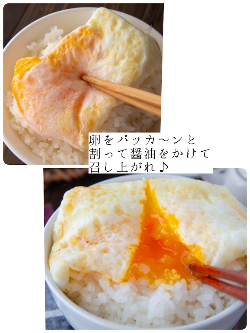 温かいご飯に卵を乗せ、卵をパッカーンと割って醤油をかけて召し上がれ。